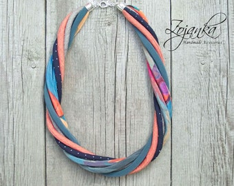 Textile necklace, statement textile necklace, fabric jewelry, ECO style necklace, upcycled necklace, handmade necklace