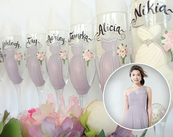 Hand Painted Personalized Bridesmaid Champagne Glasses, Bridesmaid Gifts, EXACT DRESS REPLICA of Your Dresses, Personalized Bridesmaid Gifts