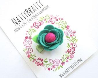 Jade Green Felt Flower Hair Clip - Baby Girl - Flower Clip - Modern Blossom Clippie - Felt Rosette - Felt Rose - Modern Style - Baby Gift