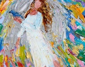 Angel of Happiness painting original oil abstract impressionism fine art impasto on canvas by Karen Tarlton