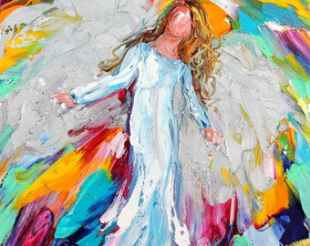 Angel Dance painting original oil 6x6 palette knife impressionism on canvas fine art by Karen Tarlton