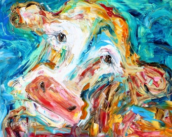 Cow original oil painting abstract palette knife impressionism on canvas fine art by Karen Tarlton