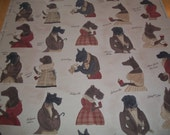 Whimsical Dog Designer Fabric Vilber Textiles from Spain Three+ Yards