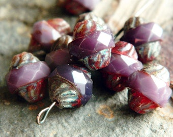 Picasso Milky Lavender Turbine beads, Czech Glass beads, Large Fire Polished Beads, 11x10mm, Milky Lavender & Picasso (8pcs) NEW