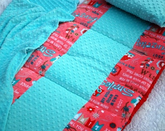Aqua Red Owls Combination All Minky Toddler Nap Mat Boutique Nap Mat Daycare Nap Mat