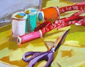 Sewing Supplies Still Life Art Print by Angela Moulton 8 x 8 inch