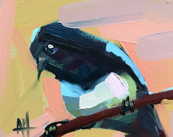 Magpie no. 10 Original Bird Oil Painting by Angela Moulton 6 x 8 inch Mounted on Maple Panel pre-order