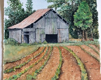 Watercolor print of old tobacco barn.