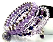 Chunky Bracelet Purple Silver Beaded Memory Wire, Simple Boho Chic Wrap Bracelet, Trendy Birthday Gifts for Moms / Daughters / Sisters