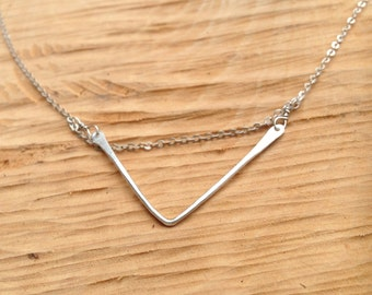 Simple Sterling Silver V Necklace