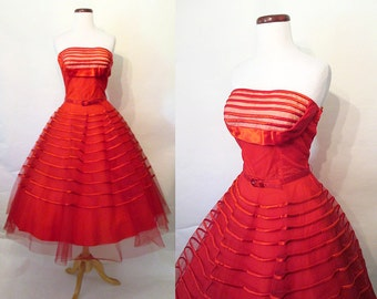 "Incredible 1950's ""Fred Perlberg"" Strapless Red Satin & Tulle Party Cocktail Dress w/ Shelf Bust Original Belt Rockabilly Prom Size-Small"