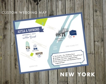 Custom Wedding Map, JPress Designs, wedding, travel, guest guide, destination wedding, save the date, custom map, illustration, New York