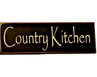 Country Kitchen- Primitive Country Painted Wall Sign, home decor, kitchen decor, housewarming gift, Ready to Ship