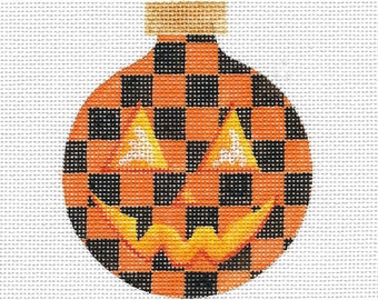 Orange and Black Check Pumpkin Needlepoint Ornament - Jody Designs #B230 ORANGE