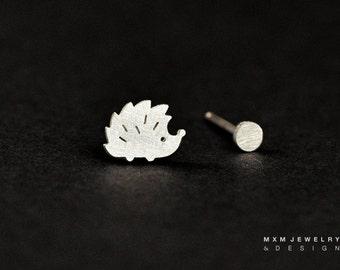 Sterling Silver Little Hedgehog & Mini Ball Stud Earrings