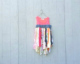 funky tattered knit and cotton tunic upcycled romantic Upcycled clothing Dress Eco Dress / Artsy Dress by CreoleSha