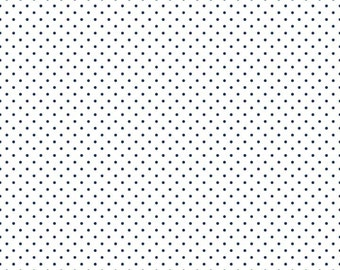 Swiss Dot Navy Blue on White - Riley Blake Swiss Dots - C660-21 NAVY - 1 Yard Cut BTY - Navy Blue Polka Dot Fabric - Quilter's Cotton