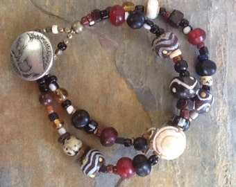 Trade Bead Bracelet, African Krobo Beads, Tribal Bracelet, Ethnic Bracelet, African