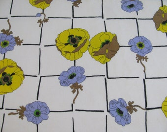 Vintage Cotton Yellow and Purple Pansy Covered Tablecloth with Self Fringe