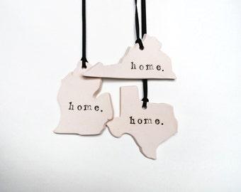 SALE: Custom State Ornament, Home, Ceramic, Pottery, Handmade - State shape - Christmas Tree Ornament - Lauren Sumner Pottery