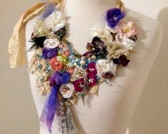 RESERVED FOR FELECE wedding shabby chic necklace beaded necklace, boho beaded flower neckpiece,  textile necklace, beaded bib necklace