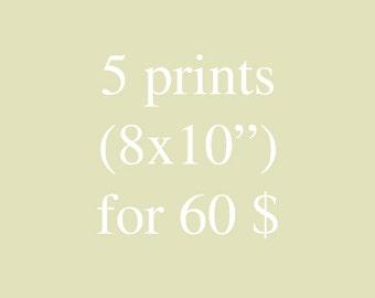 Set of 5- 8x10 inches prints. flowers prints, wall decor, folk, boho, modern flowers, wall art