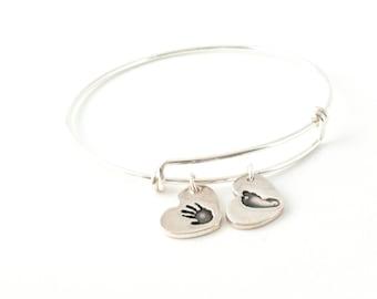 Heart Handprint Bracelet, Personalized Handprint Charm Bangle, Handprint Bangle, Footprint Bracelet, Handprint Adjustable Bangle
