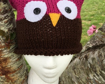 Pink and Brown toddler/child Owl hat