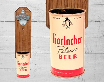 Wall Mounted Bottle Opener with Vintage Horlacher Beer Can Cap Catcher - Pennsylvania Brewery Gift for Guys