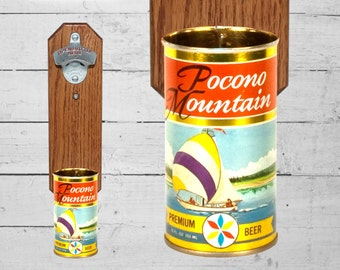 Boyfriend Gift Pocono Mountain Wall Mounted Bottle Opener with Vintage Sailboat Beer Can Cap Catcher - Barware Gift for Groomsmen