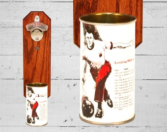 Pro Bowling Wall Mounted Bottle Opener with Vintage Iron City PBA Beer Can Cap Catcher - Great Groomsmen Gift