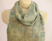 "Natural Dye Silk Scarf - Willow and Indigo Shibori - Blue-Green - CDC111512 -  approx. 14""x70"" (35 x 177cm)"