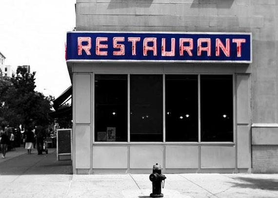 Seinfeld, New York Photography, Gray, Blue Red, Seinfeld Diner, Toms Restaurant, Seinfeld Art