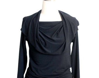 Black top, Long sleeve top with cowl neck, Womens blouse, Elegant top, Black blouse, Womens clothing, Womens top, Sexy top