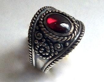 Red Garnet Ring, silver ring, gemstone ring, bohemian ring, Tibetan ring, gypsy ring, ornate ring, wide band, boho - The Real Thing R2220