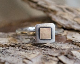 Two tones ring, delicate ring, simple ring, stacking ring, dainty ring, Square ring, Mixed Metals Ring, tiny square ring - Must know R1382B