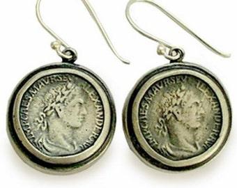 Sterling silver earrings, antique style earrings, coin earrings, dangle earrings, oxidized silver earrings - Retrospect E7872