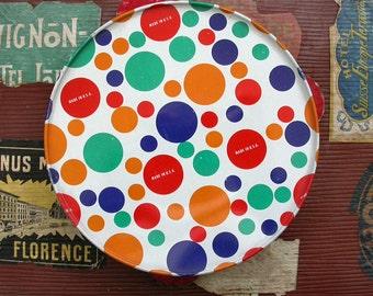 Vintage Tin Litho Tambourine Polka Dots Made in USA