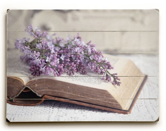 Bible Photo, Photograph on Wood, Christian Wall Art, Lilac Photo, Purple Wall Art, Wood Panel Art, Cottage Chic Decor Open Book with Flowers