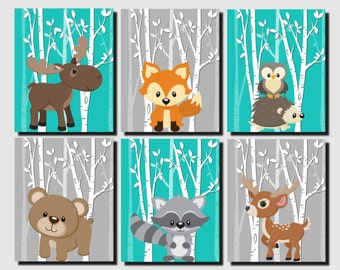 Woodland Nursery, Woodland Wall Decor Kids, Teal, Gray, Forest Animals Wall Art, Kids Wall Art, Fox, Deer, Moose, Set of 6 Prints or Canvas