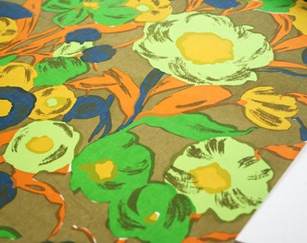 Flower power wallpaper. Yardage wallpaper, vintage wallpaper, retro, daises, orange, chartreuse, yellow, olive green, blue, lime green