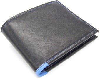 Black leather wallet with tonal blue detailing