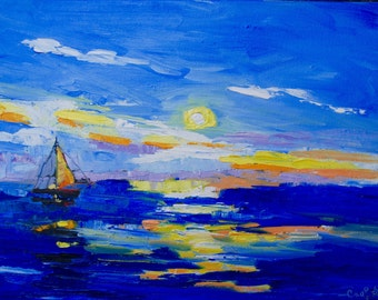 Modern Impressionist Abstract Palette Knife Oil Painting Sunset Sail by Rebecca Croft