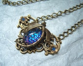 Dragonfly necklace with West German helio blue stone - CB595