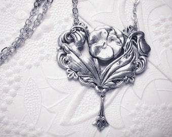 Antiqued silver plated pansy pendant necklace- NR395