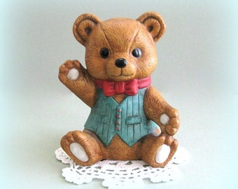 Teddy Bear Decor Teddy Bear Ornament Vintage Bear Decoration Collectible Bear Ceramic Bear Brown Bear Figurine Boy Bear Ceramic Teddy Bear