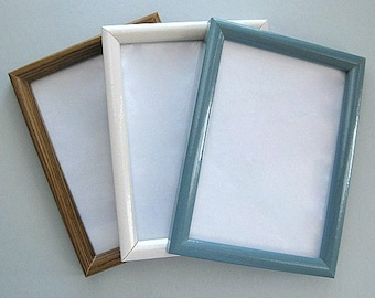 Wood Picture Frame Wood Photo Frame Craft Frame with Glass White Frame Blue Frame Brown Frame 5 x 7 Frame Small Frame Miniature Frame Glossy
