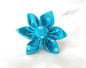 Attachable Flower for your Pup in Teal Paw Prints