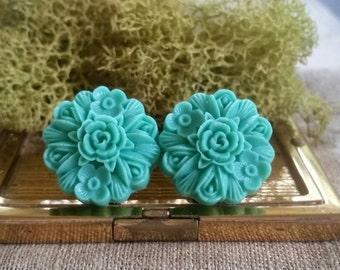Large Bridal Plugs, Prom Plugs, Large Flower Plugs, Aqua Flowers