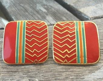 """Laurel Burch Cloisonne Art Deco Post Earrings, """"AHKTAR"""" Vintage 1980's"""